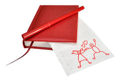 Friendship and love. Red drawing on the sheet Stock Photography