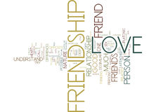 Friendship And Love Word Cloud Concept. Friendship And Love Text Background Word Cloud Concept Stock Images