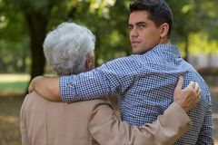 Friendship between man and grandson Stock Photography