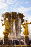 Friendship of Nations fountain details at VDNKh Royalty Free Stock Photos