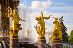 Friendship of Nations fountain at VDNKh Royalty Free Stock Image