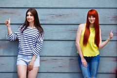 Friendship, natural beauty, leisure, summer, youth concept. Two. Beautiful young women in bright casual clothes posing outdoors Royalty Free Stock Photo