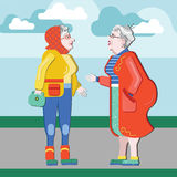 Friendship of old people. Old Girlfriends. Older woman talking on the street. Old women discuss retirement. Senior having fun. Old. Two old women talking on the Stock Illustration