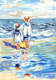 Friendship. Painting of two children on beatch Stock Photos