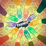 Friendship pairs of shoes Stock Photography