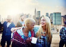 Friendship Party Rooftop TErrace Cheerful Concept Stock Photo