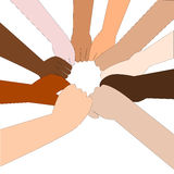 Friendship. People of different nationalities stretch out their hands to make a circle stock illustration