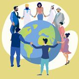Friendship of the peoples of the entire planet. People dance in a circle around the Earth. In minimalist style Cartoon. Flat Vector Illustration royalty free illustration