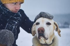 Friendship between pet owner and his dog. Friendship between pet owner and his old dog. Young man stroking labrador retriver in winter landscape stock photography