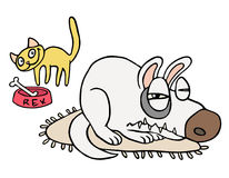 Friendship of playful cat and angry dog. Vector illustration. Royalty Free Stock Image