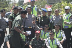 Friendship between the police and army in the solo city, central java Royalty Free Stock Image