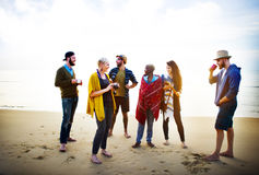 Friendship Relaxing Beach Morning Talking Concept Royalty Free Stock Photo