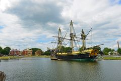 Friendship of Salem, Salem, Massachusetts. Friendship of Salem at the Salem Maritime National Historic Site NHS in Salem, Massachusetts, USA. This ship is a full Royalty Free Stock Photos