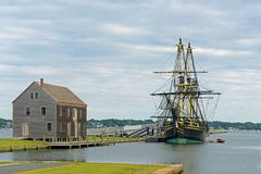 Friendship of Salem, Salem, Massachusetts. Friendship of Salem at the Salem Maritime National Historic Site NHS in Salem, Massachusetts, USA. This ship is a full Royalty Free Stock Photo