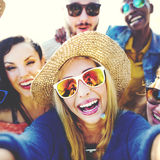 Friendship Selfie Relaxation Summer Beach Happiness Concept Royalty Free Stock Images