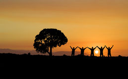 Friendship Silhouette Stock Photo