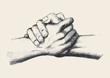 Friendship. Sketch illustration of two hands holding each other strongly royalty free illustration