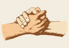 Friendship. Sketch illustration of two hands holding each other strongly vector illustration