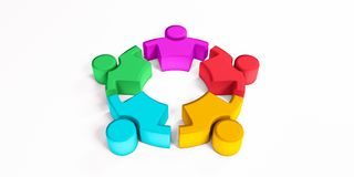 Friendship Togetherness Community Copy Space . 3D Render Illustration. Concept of Leaders Meeting Stock Image