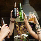 Friendship Togetherness Party Drinking Cheers Concept. People Celebrating Friendship Togetherness Drinking Cheers Stock Photo