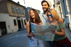 Group of smiling friends traveling. Friendship, travel, vacation, summer and people concept. royalty free stock image