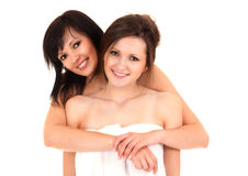 Friendship - Two best girlfriends hugging each other Royalty Free Stock Photo