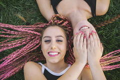 Friendship between two female teens Royalty Free Stock Photo