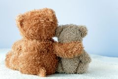 Friendship - two teddy bears holding in one`s arms. Friendship forever- two teddy bears holding in one`s arms Stock Images