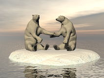 Friendship white bears - 3D render Stock Photos
