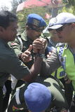 friendship wi friendship with arm wrestle between the police and the army in the stadium held their solo Central Java Royalty Free Stock Images
