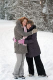 Friendship in winter royalty free stock photography