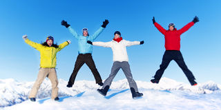 Friendship Winter Happiness Togetherness Concept Stock Photos