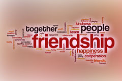 Friendship word cloud with abstract background. Friendship word cloud concept with abstract background Royalty Free Stock Images
