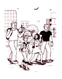 Friendship (2009). Young people walking through city Stock Illustration
