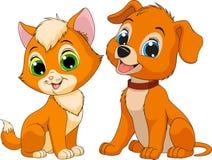 Friendsn del cucciolo e del gattino Fotografia Stock Libera da Diritti