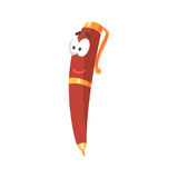 Frienfly cartoon red pen comic character, humanized pen with funny face vector Illustration. On a white background Royalty Free Stock Photography