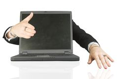 Frienly laptop welcoming you - handshake Stock Photo