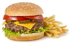 Fries бургера и франчуза Стоковая Фотография RF