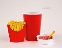 Fries с питьем Стоковое Изображение