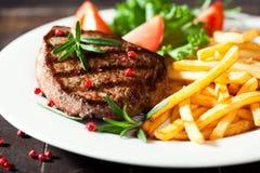fries франчуза зажгли деревенский стейк Стоковые Изображения