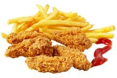 fries франчуза цыпленка Стоковая Фотография RF