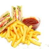 Сандвич клуба с fries Стоковые Фото