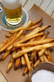 Fries and beer Royalty Free Stock Photography