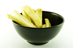 Fries in a Black Bowl Stock Image