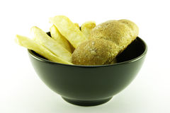 Fries in a Black Bowl Stock Photography