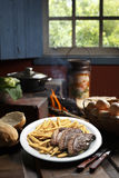 Fries with Brazilian picanha royalty free stock photos