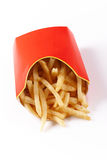 Fries in Cardboard Stock Photo
