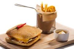 Fries Cheeseburger и франчуза Стоковое Изображение RF