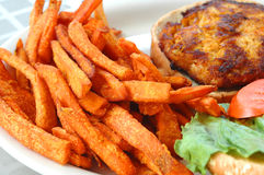 Fries and crab sandwich. Sweet potato fries and crab sandwich with lettuce and tomato Stock Image