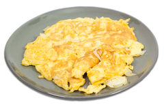 Fries egg (omelet) on plate Royalty Free Stock Photography